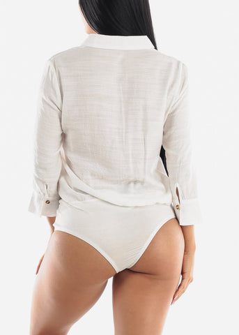 Image of Button Up White Bodysuit