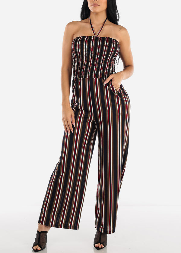 Strapless Navy Stripe Jumpsuit