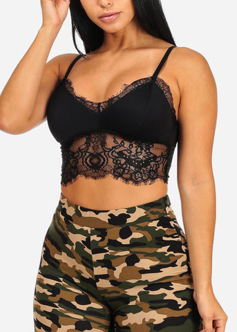 Black Floral Lace Padded Bust Bralette