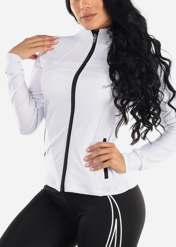 Activewear Zip Up White Jacket