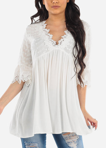 Cute Flowy Quarter Sleeve Pure White V Neck Lightweight Floral Crochet Tunic Top For Women Ladies Junior 2019 New Summer