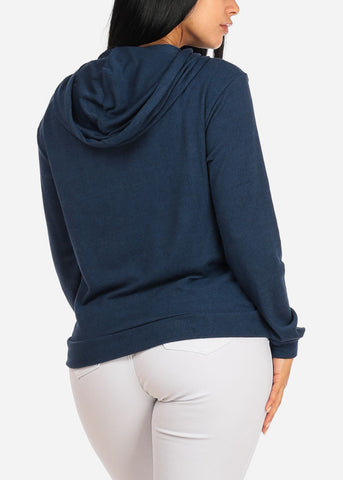 Cozy Long Sleeve High Neck Navy Sweater Top W Hood