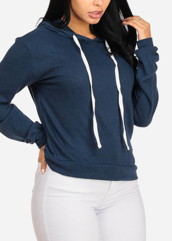 Image of Cozy Long Sleeve High Neck Navy Sweater Top W Hood