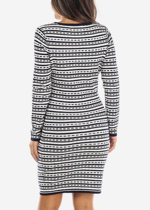 White & Navy Striped Sweater Dress