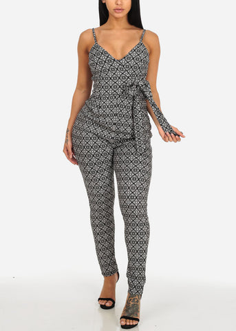 Sexy Black and White Printed Jumpsuit