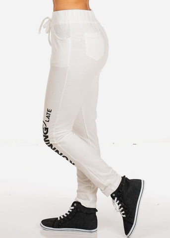 Running Late Graphic Lace Up White Jogger Pants