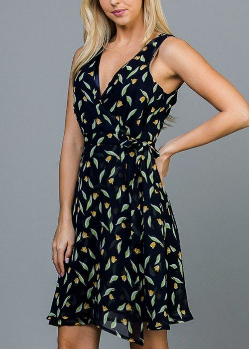 Wrap Front Navy Tulip Dress