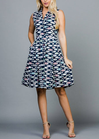 Half Button Up Fish Print Navy Dress