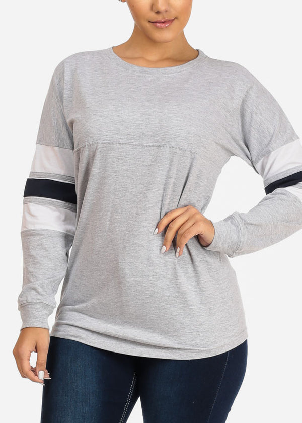 Casual Long Sleeve Grey Sweatshirt