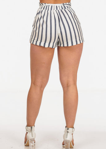 White Stripe Shorts