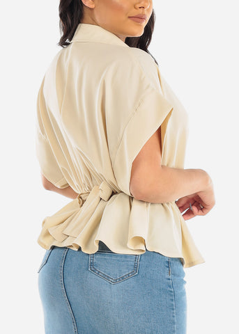 Image of Lightweight Button Up Cream Top