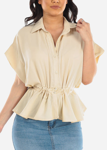Image of Cute Button Up Elastic Waist Short Sleeve Lightweight Sand Cream Top For Women Ladies Junior