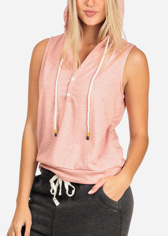 Image of Women's Junior Ladies Casual Solid Color Sleeveless Sporty Sweatshirt Hoodies Hoody Solid Rose Top W Hood