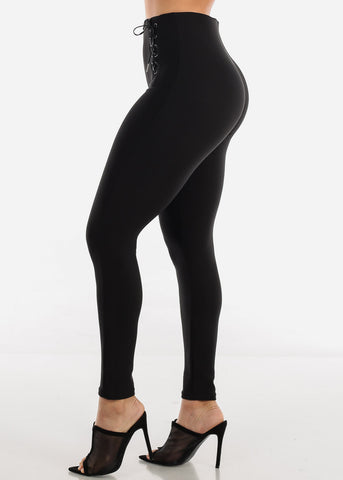 Image of Front Lace Up Black Skinny Pants