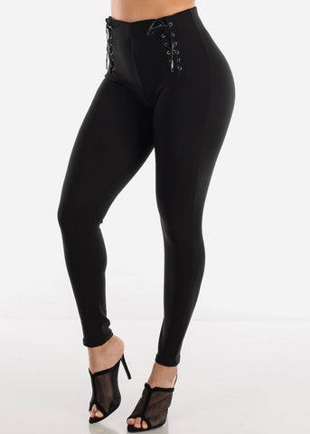Front Lace Up Black Skinny Pants
