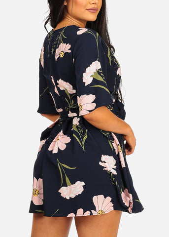 Image of Sexy Short Sleeve Summer Navy Floral Print Romper