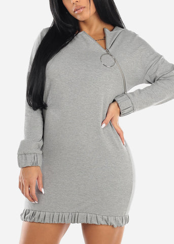 Image of Asymmetric Front Zipper Grey Sweater Dress