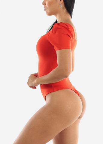 Image of Puff Sleeve Coral Bodysuit