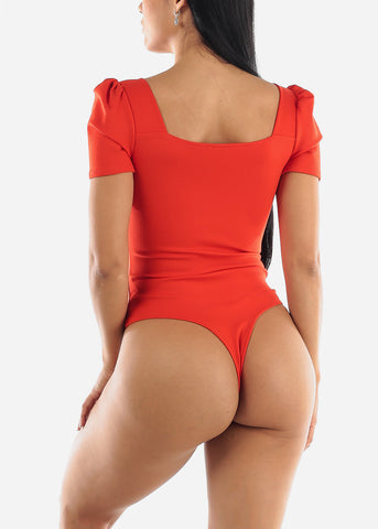 Puff Sleeve Coral Bodysuit
