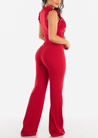 Red Crochet Lace Bodice Jumpsuit