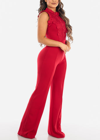 Image of Red Crochet Lace Bodice Jumpsuit