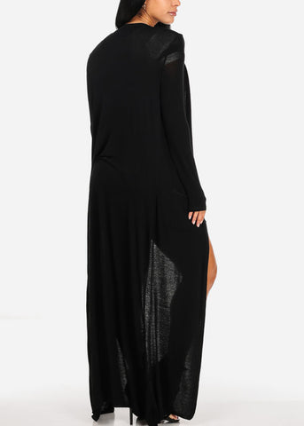 Cute Open Front Black Maxi Cardigan