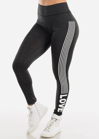 "Image of Activewear Charcoal Stripe Leggings ""Love"""