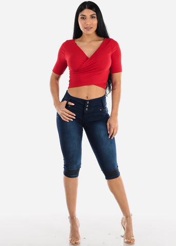 Wrap Front Red Ribbed Crop Top