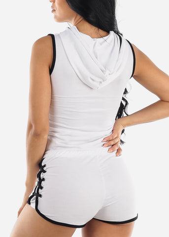 Image of Half Zip Up White Romper