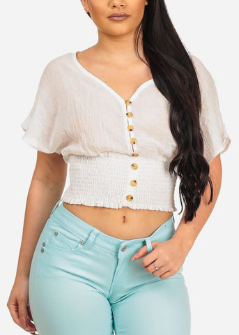 Image of Women's Junior Summer Brunch Beach Short Sleeve Trendy Light Linen White Shirring Stretchy Elastic Waist Crop Top