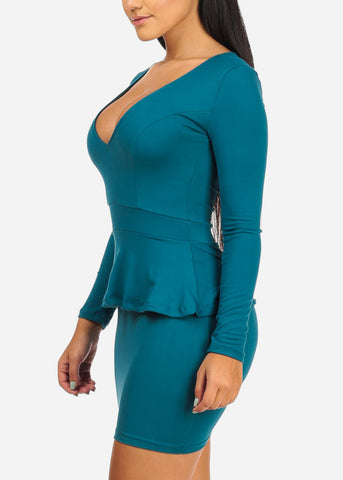 Image of Super Sexy Teal Ruffle Mini  Dress