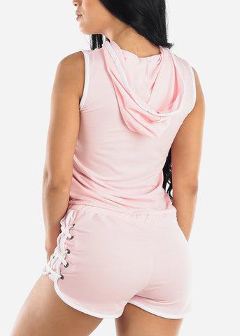 Image of Half Zip Up Pink Romper