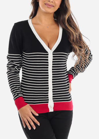 Image of Red Trim Black Striped Button Down Cardigan SW775CBLK