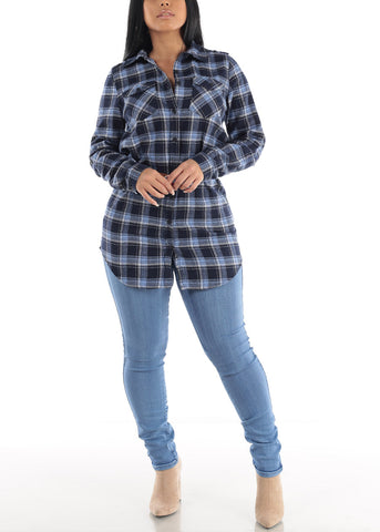 Blue Plaid Tunic Top