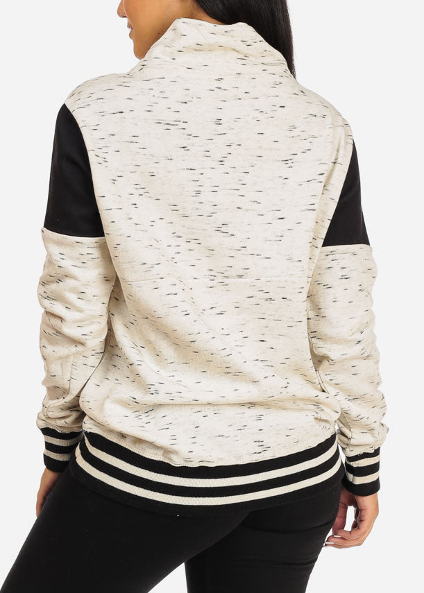 Oatmeal Quarter Zip Up Sweater