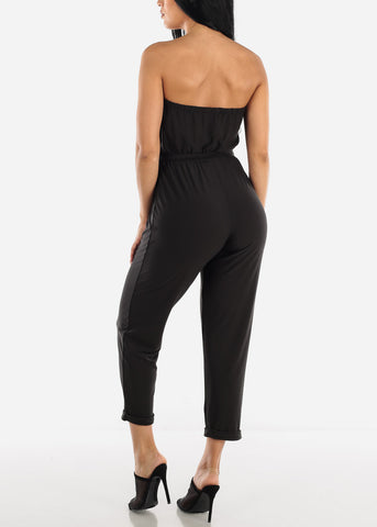 Buttons Front Strapless Black Jumpsuit