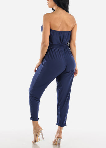 Image of Buttons Front Strapless Navy Jumpsuit