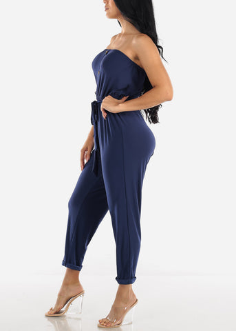 Buttons Front Strapless Navy Jumpsuit