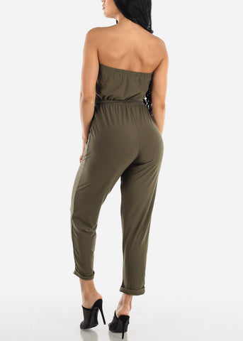Image of Buttons Front Strapless Olive Jumpsuit