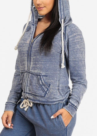 Casual Wear Blue Sweater W Hood