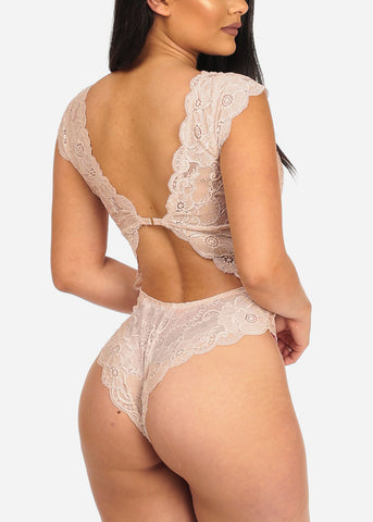 Image of Floral Lace Nude Bodysuit