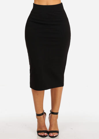 High Waisted Evening Black Skirt