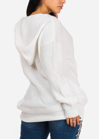 Stylish V Neckline Knitted Long Sleeve White Tunic Sweater Top