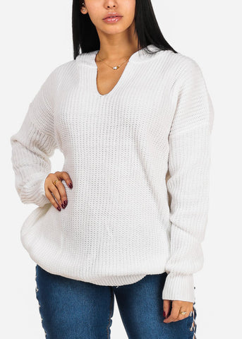 Cute Knitted White Tunic Top