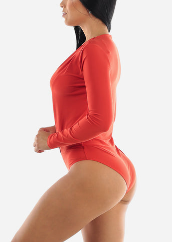 V-Neck Coral Bodysuit