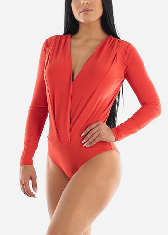 Image of V-Neck Coral Bodysuit