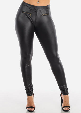 Pleather Leggings Front Zipper Detail Black