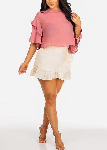 Lightweight Ruffle Detail Mauve Flowy Crop Top