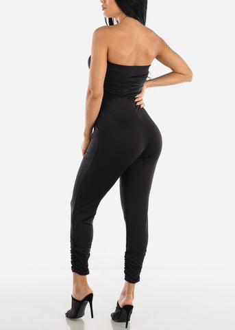 Image of Strapless Ruched Black Jumpsuit