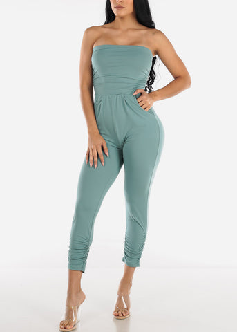 Image of Strapless Ruched Light Blue Jumpsuit